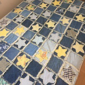 Jean & Flannel Handmade Quilt Size 52 in x 65 in